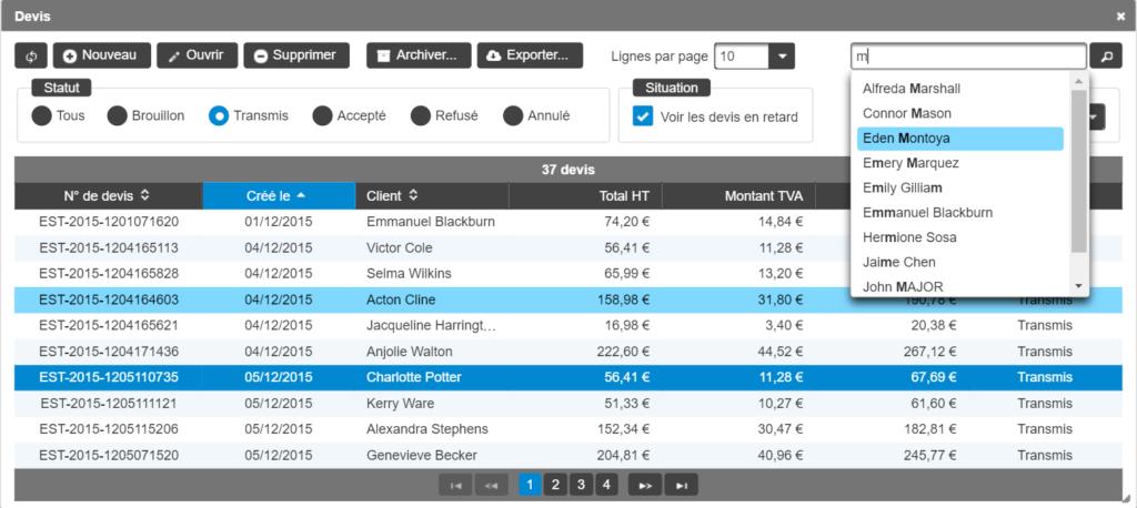 logiciels sur-mesure tableau de données