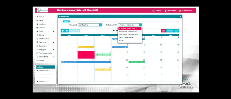Calendrier mensuel des rendez-vous