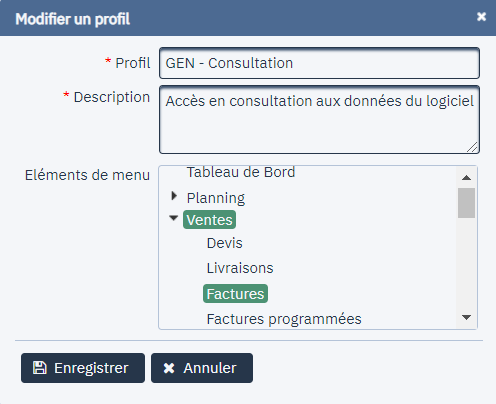 Personnalisation du profil consultation.