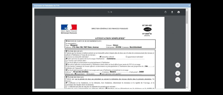 PMC Logiciels impression Attestation de TVA réduite