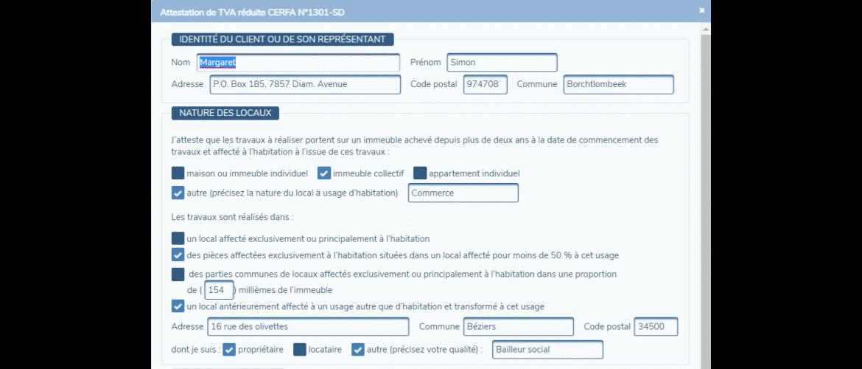 PMC Logiciels formulaire Attestation de TVA réduite