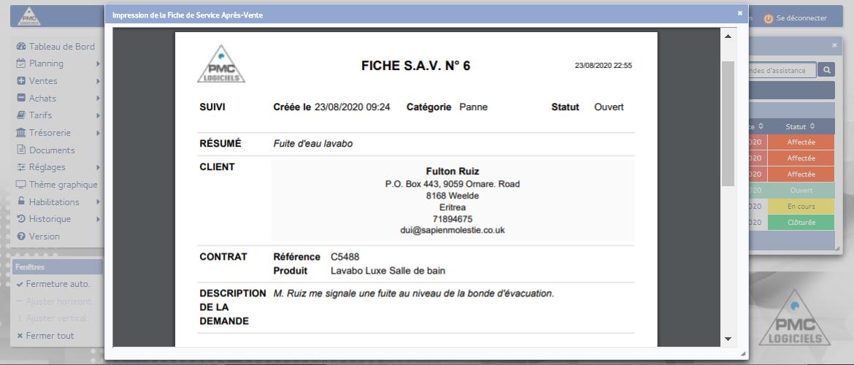 PMC Logiciels - SAV impression fiche pdf
