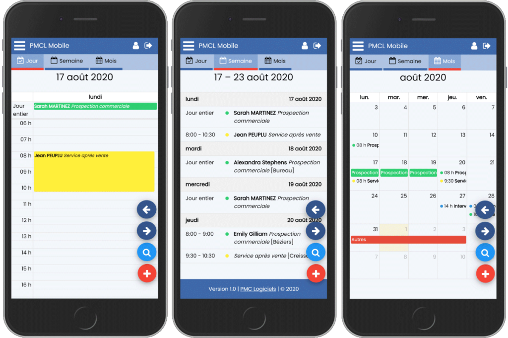 PMC Logiciels mobile : calendrier